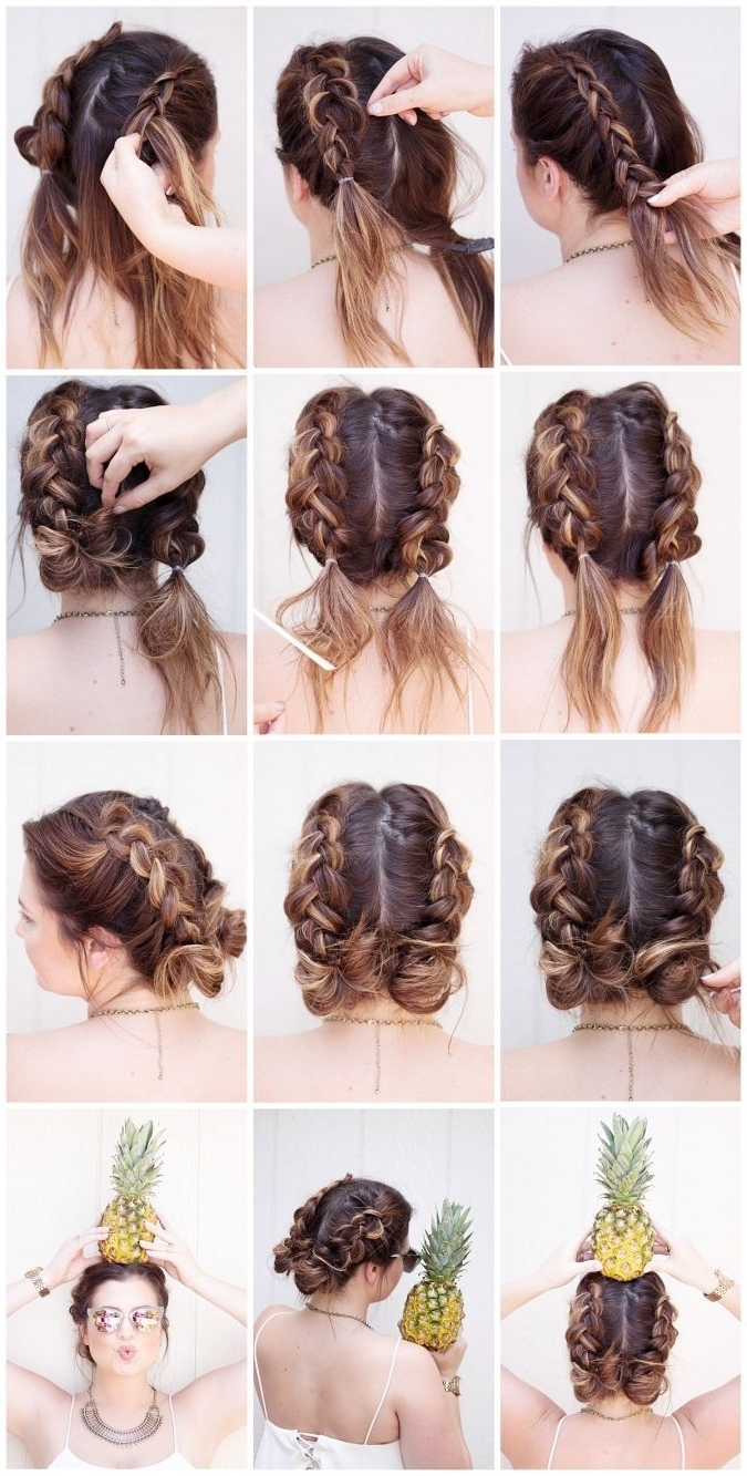 Tutorial Tuesday, Braids, Tutorials, Beauty Blogger, Sunkissed And In Preferred French Braids Into Braided Buns (View 6 of 15)