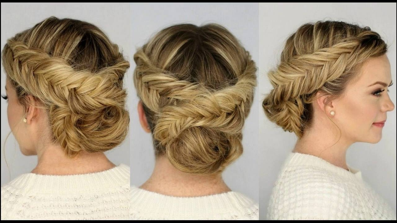 Two Braided Updo Hairstyle For Medium Hair Suits Best Occasions Regarding Well Known Braids And Waves For Any Occasion (View 12 of 15)