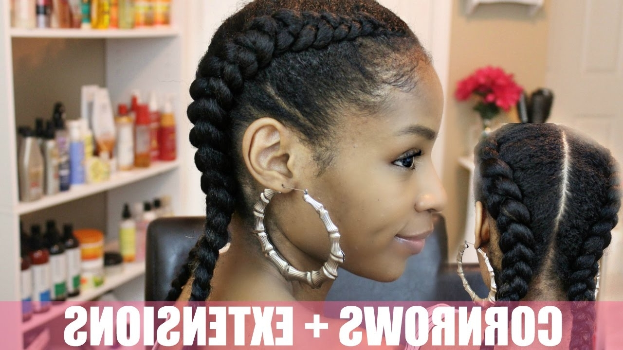 Two Cornrows On Natural Hair + Extensions – Youtube Inside 2018 Two Cornrows Hairstyles (View 11 of 15)