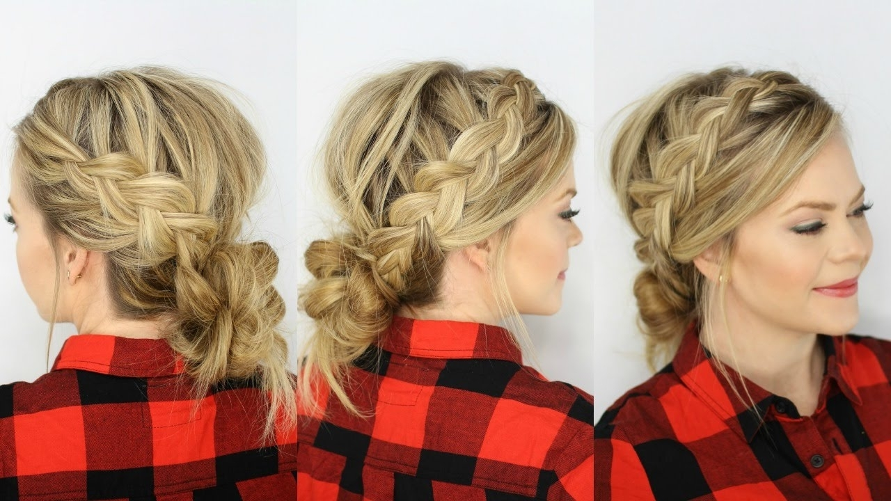 Two Dutch Braids & Low Messy Bun – Youtube Inside Most Popular Side Bun With Double Loose Braids (View 13 of 15)