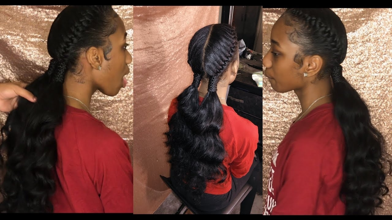 Two Goddess/under Braids W/ Curly Ponytail Tutorial – Youtube Regarding Trendy Two Braids Into One Braided Ponytail (View 6 of 15)