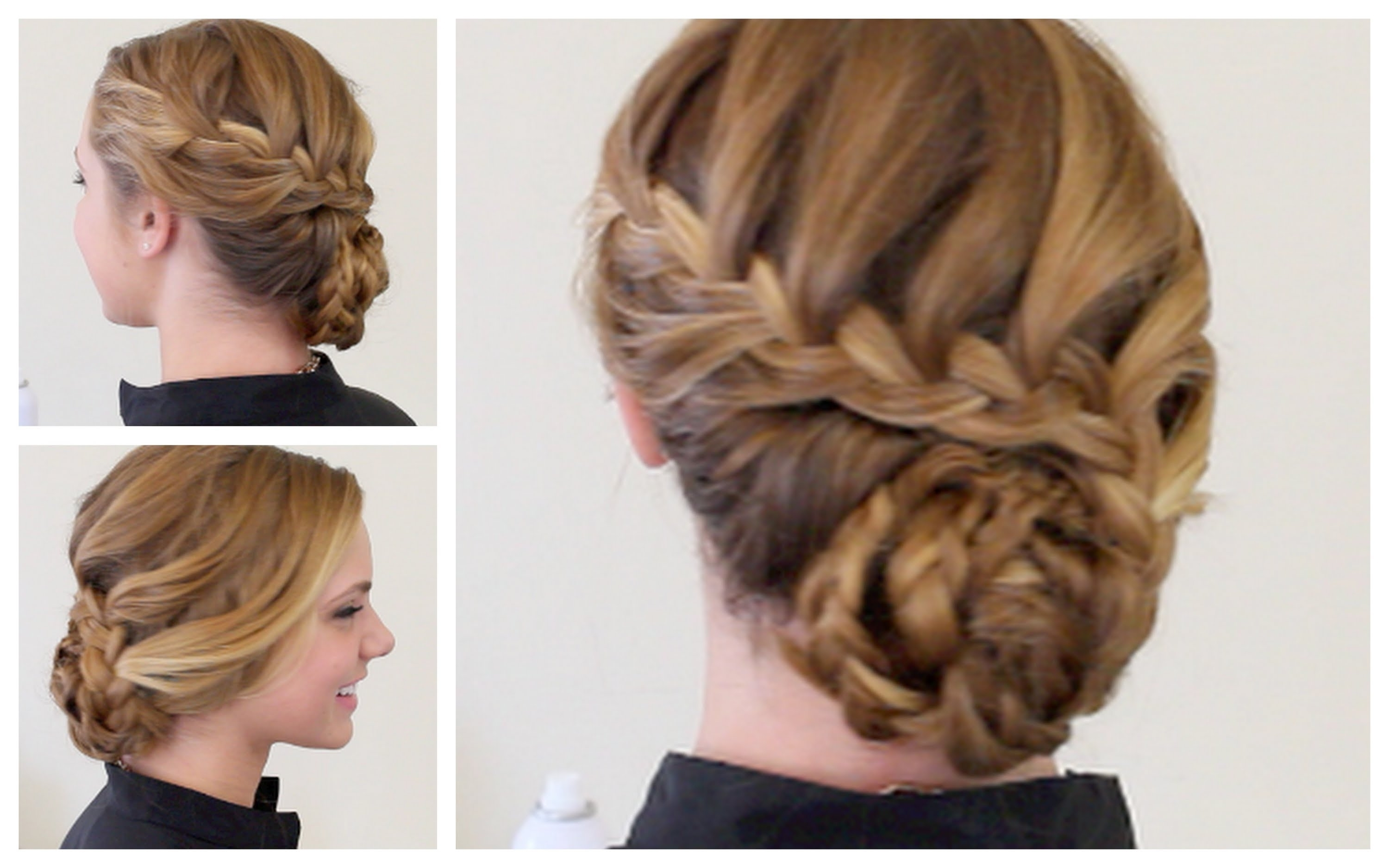Updo Formal Hairstyles Braided Updo Hairstyle For Mediumlong Hair Throughout Widely Used Braided Updo With Curls (Gallery 4 of 15)