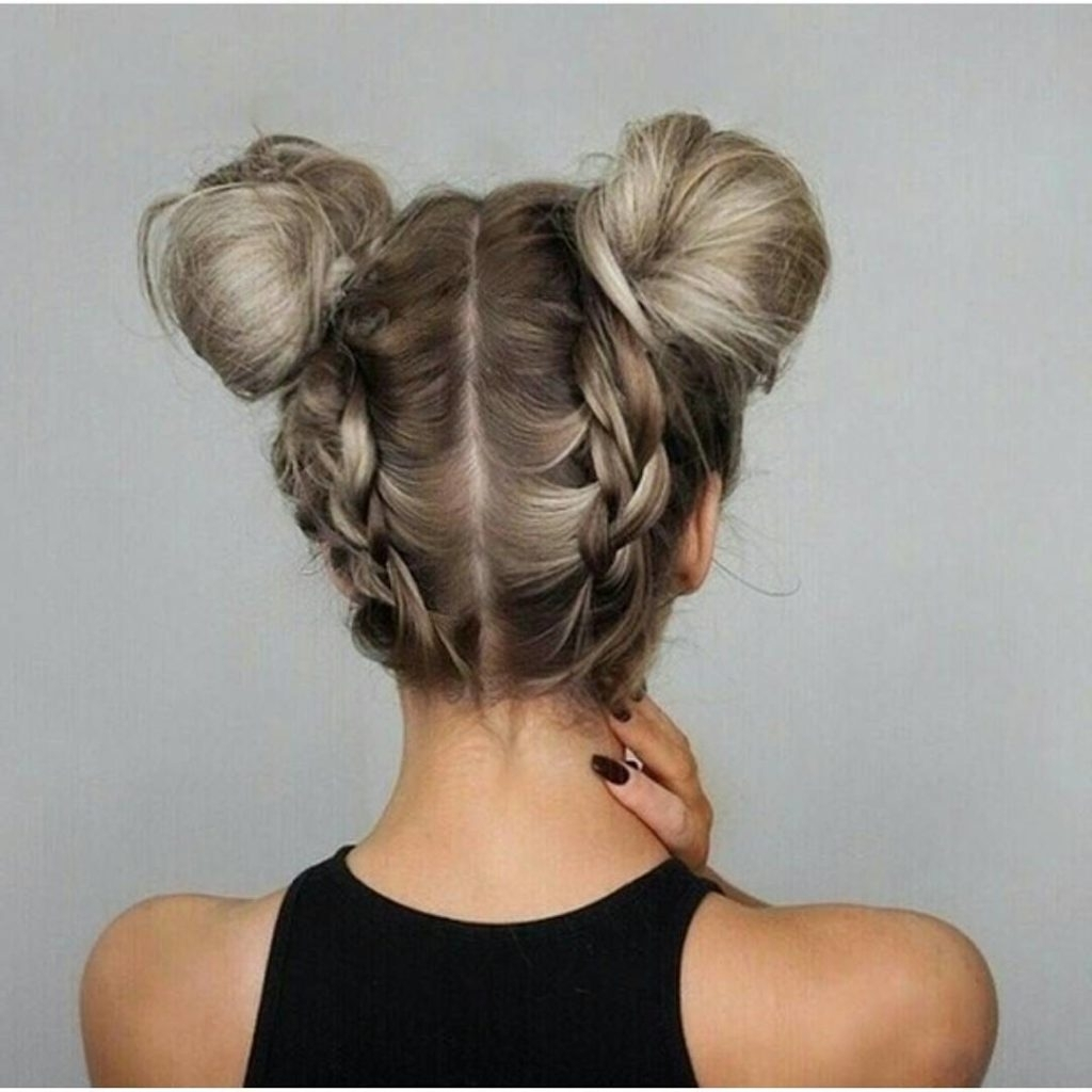 Updo Hairstyles To Try This Summer – 14 Different Hair Buns – Gazzed For Widely Used Double Braids Updo Hairstyles (Gallery 4 of 15)