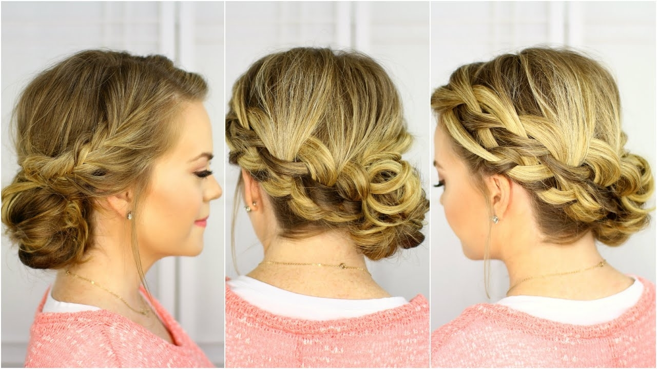 Waterfall French Braid Updo – Youtube Throughout Most Recent Pinned Up French Plaits Hairstyles (View 15 of 15)