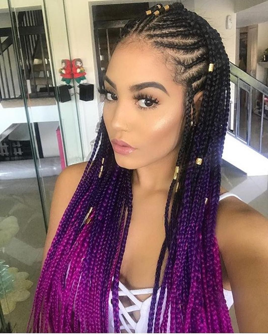 We Are Loving These Ombré Cornrows!!! If You Want The Look Use Throughout Trendy Purple Highlights In Black Braids (View 7 of 15)