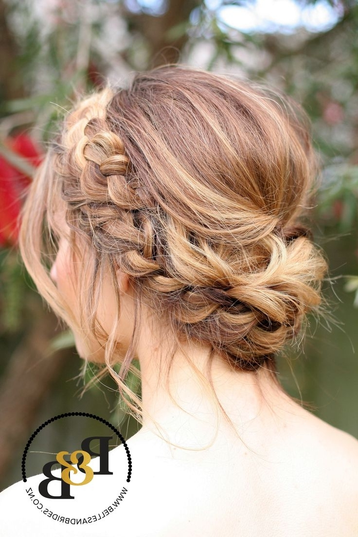 Wedding Hair With Braid / Messy Bridal Updo / Bridesmaids Hair Within 2017 Formal Braided Bun Updo Hairstyles (View 15 of 15)