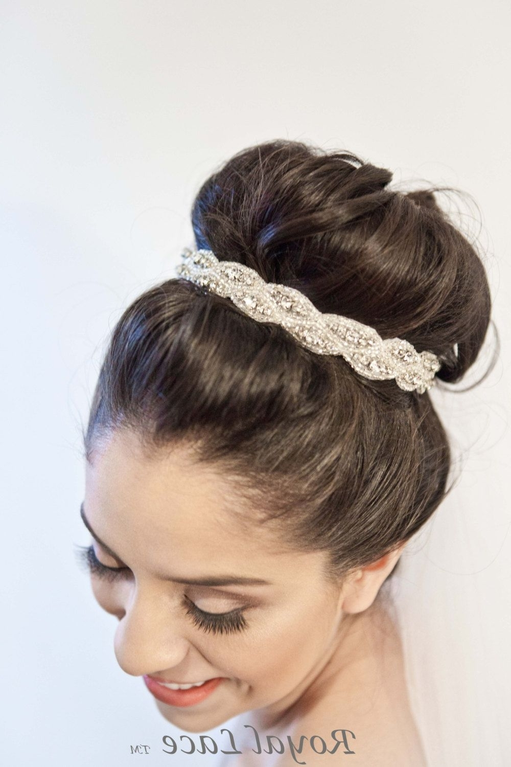 Wedding Headband, Wedding Hair Accessory, Crystals, Beads, Headband With Regard To Trendy Large High Bun With A Headband (View 13 of 15)