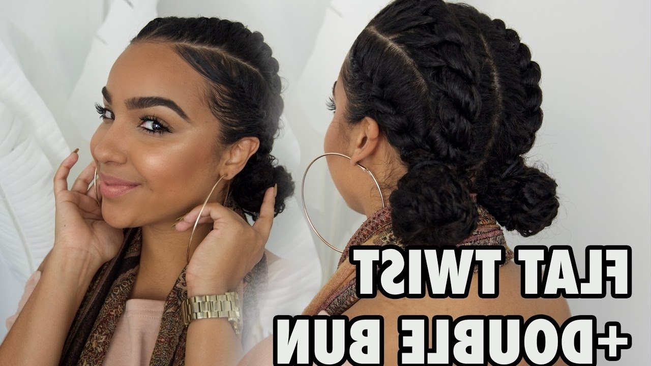 Well Known Cornrows Hairstyles For Work Pertaining To For Work + School + Gym Flat Twists With Bun Hairstyle! – Youtube (View 14 of 15)