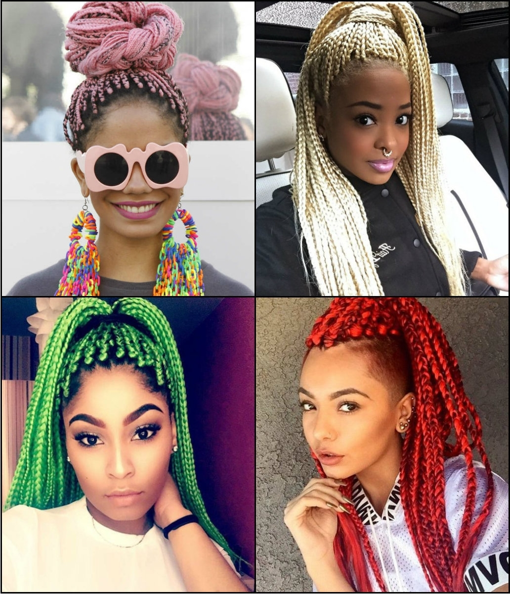 Well Known Cornrows Hairstyles With Color Inside Black Women Colourful Box Braids Hairstyles (View 10 of 15)