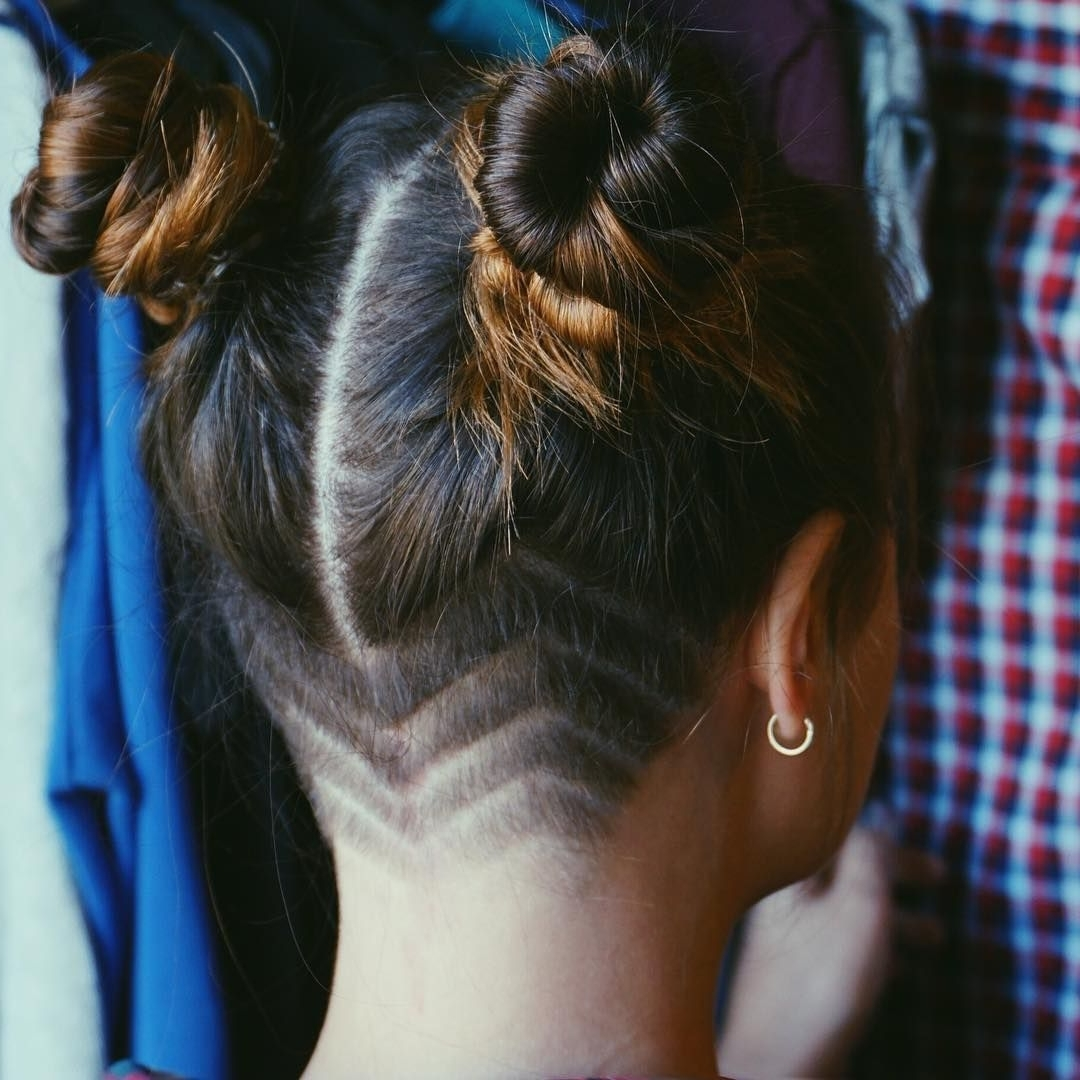 Well Known Double Bun Mohawk With Undercuts Pertaining To Grunge Hair, Buns, Undercut, Girls Undercut, Shaved Head, Grunge (View 15 of 15)