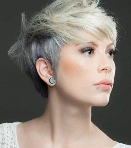 Well Known Funky Blue Pixie With Layered Bangs Pertaining To Different Pixie Haircuts With Bangs (View 14 of 15)