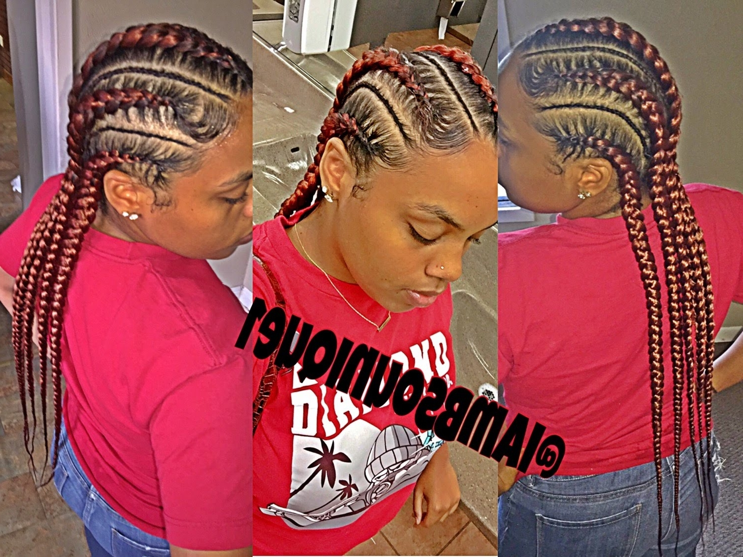 Well Known Red Cornrows Hairstyles With Book Me : Cornrow/feed In Braids Hairstyles – Youtube (View 5 of 15)