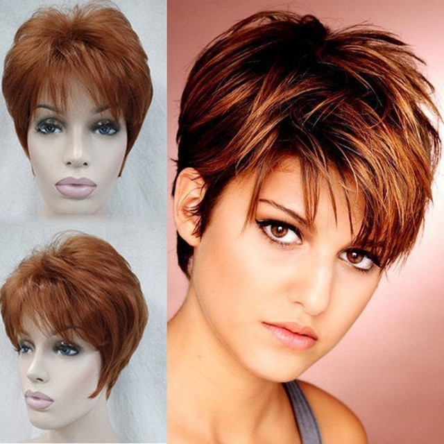 Well Known Reddish Brown Layered Pixie Bob Haircuts Throughout Sexy Reddish Brown Wig Pixie Cut Short Layered Hair Wig Female Heat (View 11 of 15)