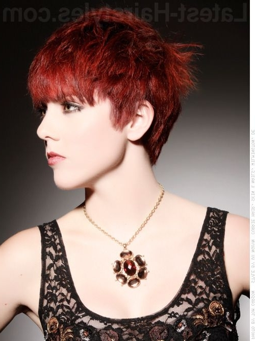 Well Known Shaggy Pixie Haircuts In Red Hues Throughout Dramatic Deep Red Hues Side Swept Pixie Haircut – Long Face Framing (View 3 of 15)