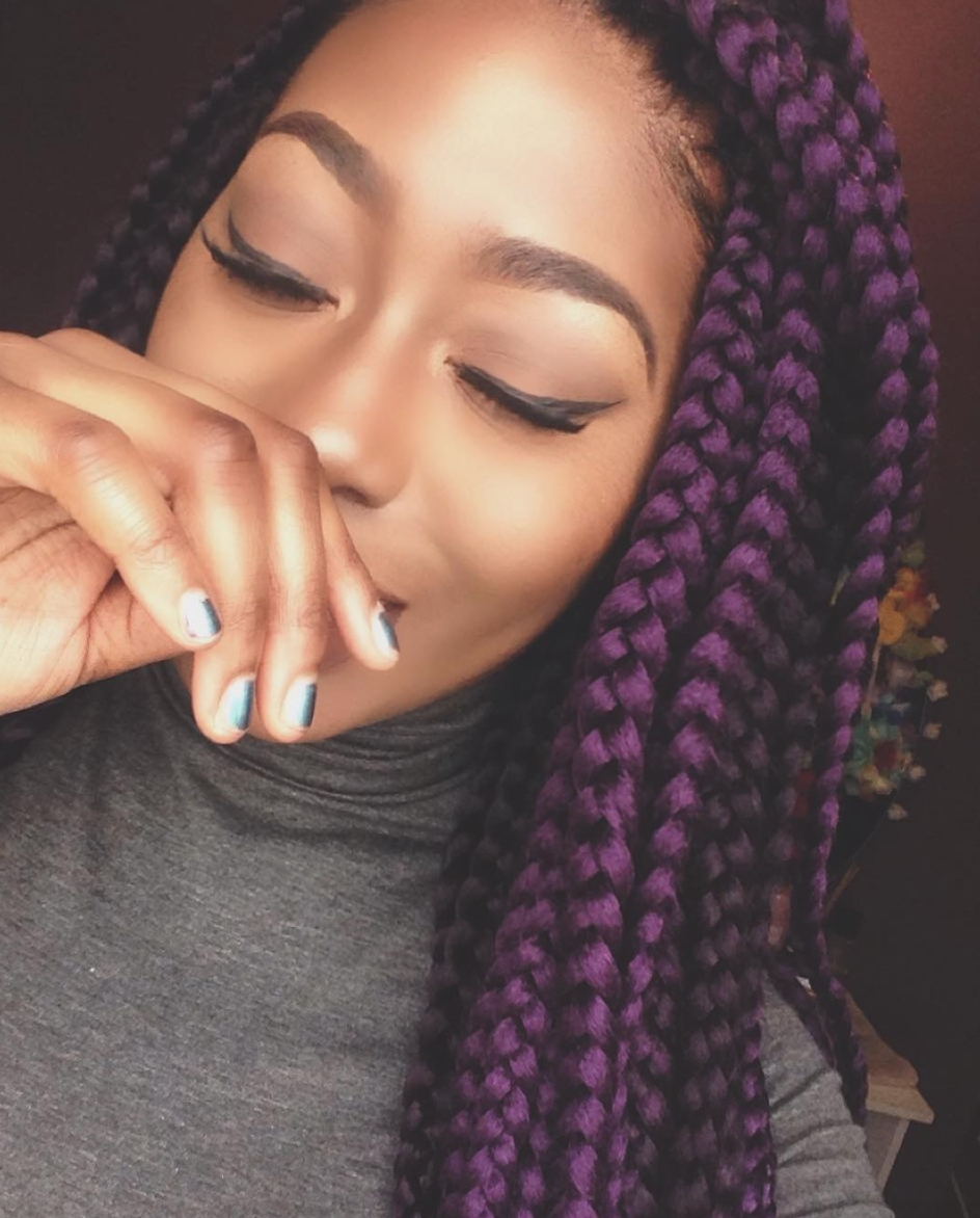 Well Known Thin Black Box Braids With Burgundy Highlights Inside Pretty Purple @pyt Naomilabelle – Http://community (View 15 of 15)