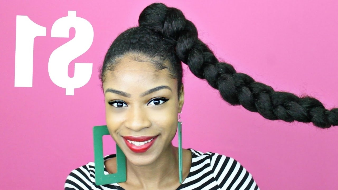 Well Known Top Knot Ponytail Braids With Pink Extensions For Jumbo Braid Ponytail With Kanekalon Hair▻ Natural Hair Protective (View 13 of 15)
