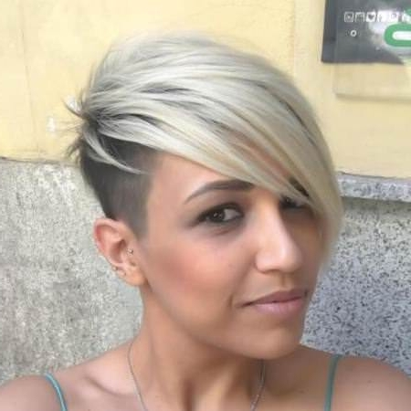 Well Known Undercut Blonde Pixie With Dark Roots With Regard To 20 Types Of Platinum Blonde And White Hair (View 14 of 15)