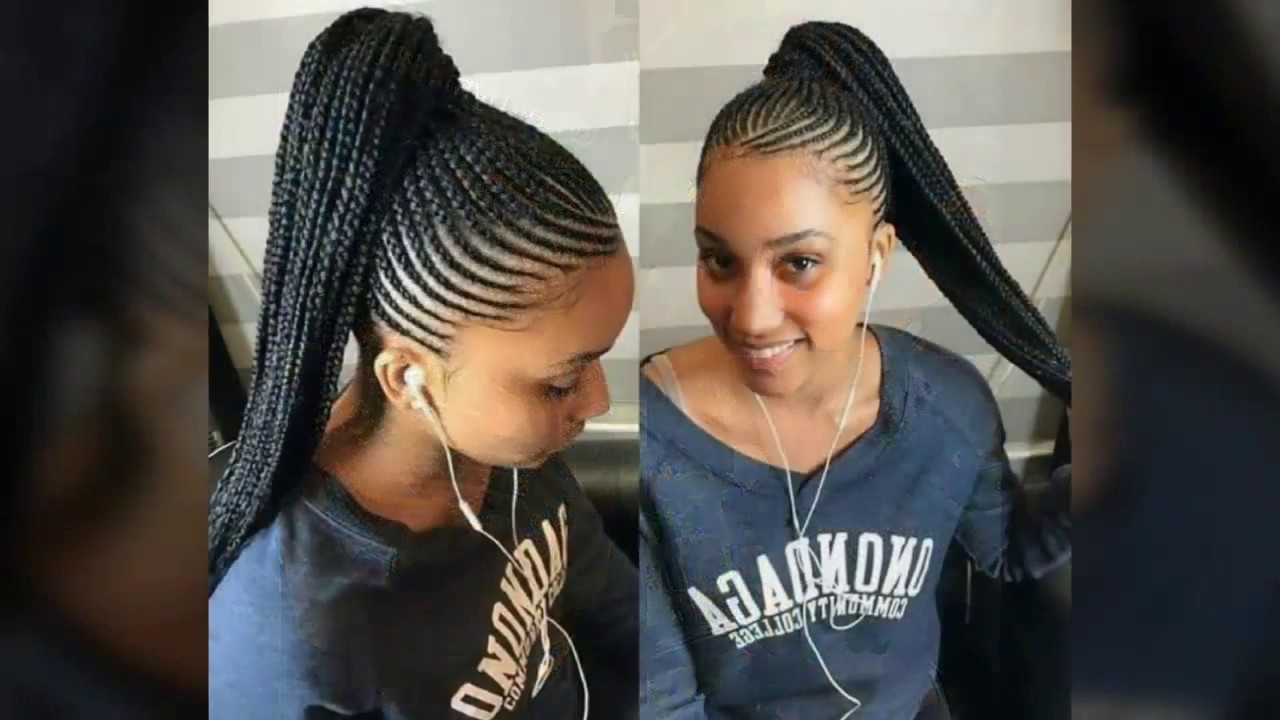 Well Liked Cornrows Hairstyles With Ponytail Pertaining To Latest Classy Ponytail Ghana Hairstyles,cornrows Braids For Classy (View 15 of 15)