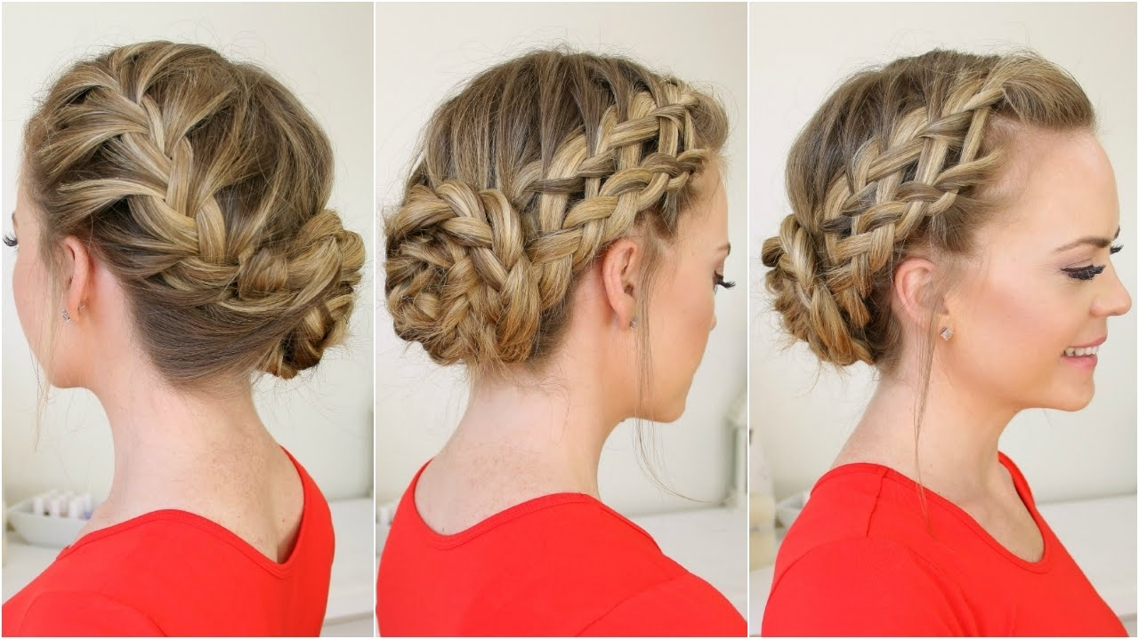 Well Liked French Braid Crown And Bun Updo With Waterfall, Dutch, French Braid Into Braided Bun – Youtube (View 4 of 15)