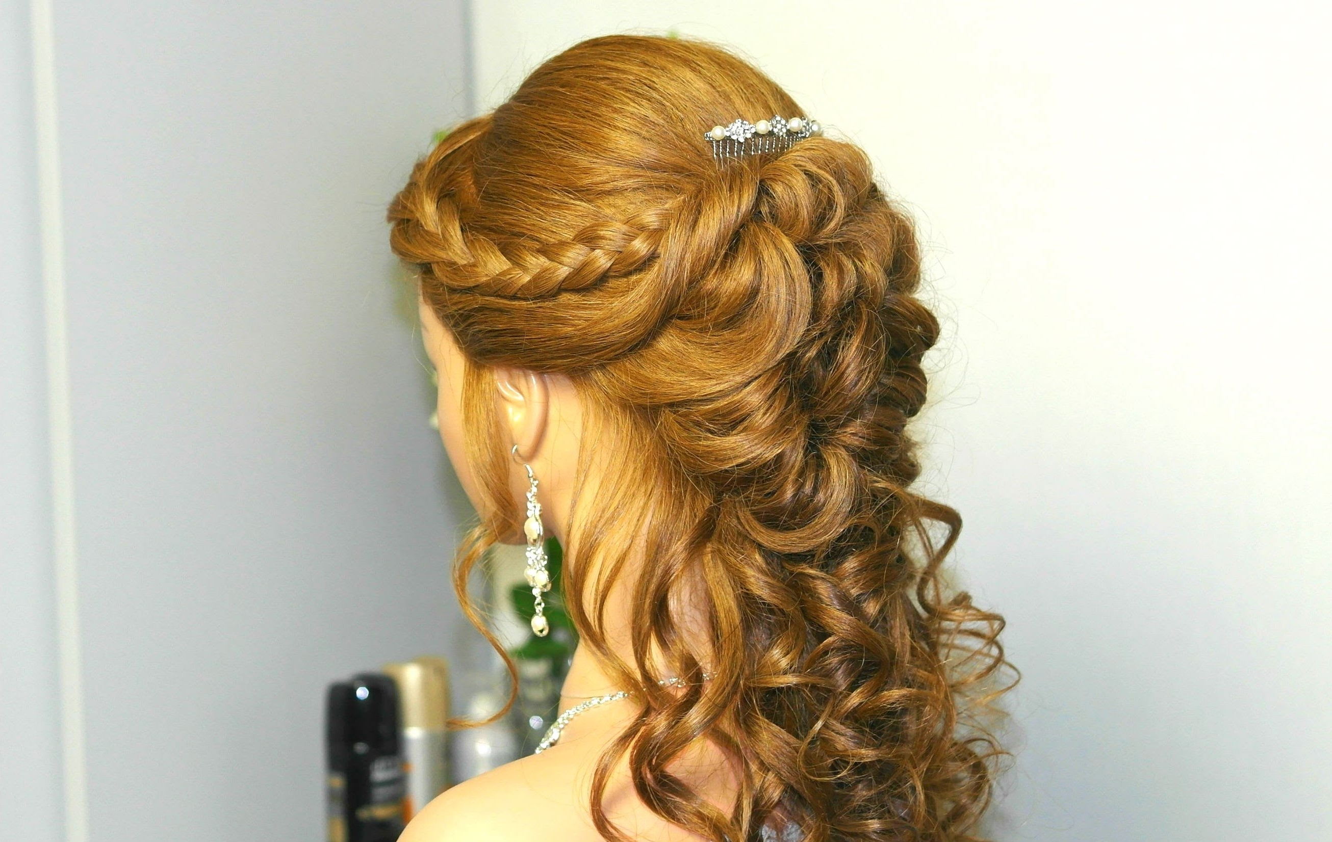 Well Liked French Braid Hairstyles With Curls Intended For Curly Prom Hairstyle For Long Hair With French Braids. Tutorial (Gallery 6 of 15)