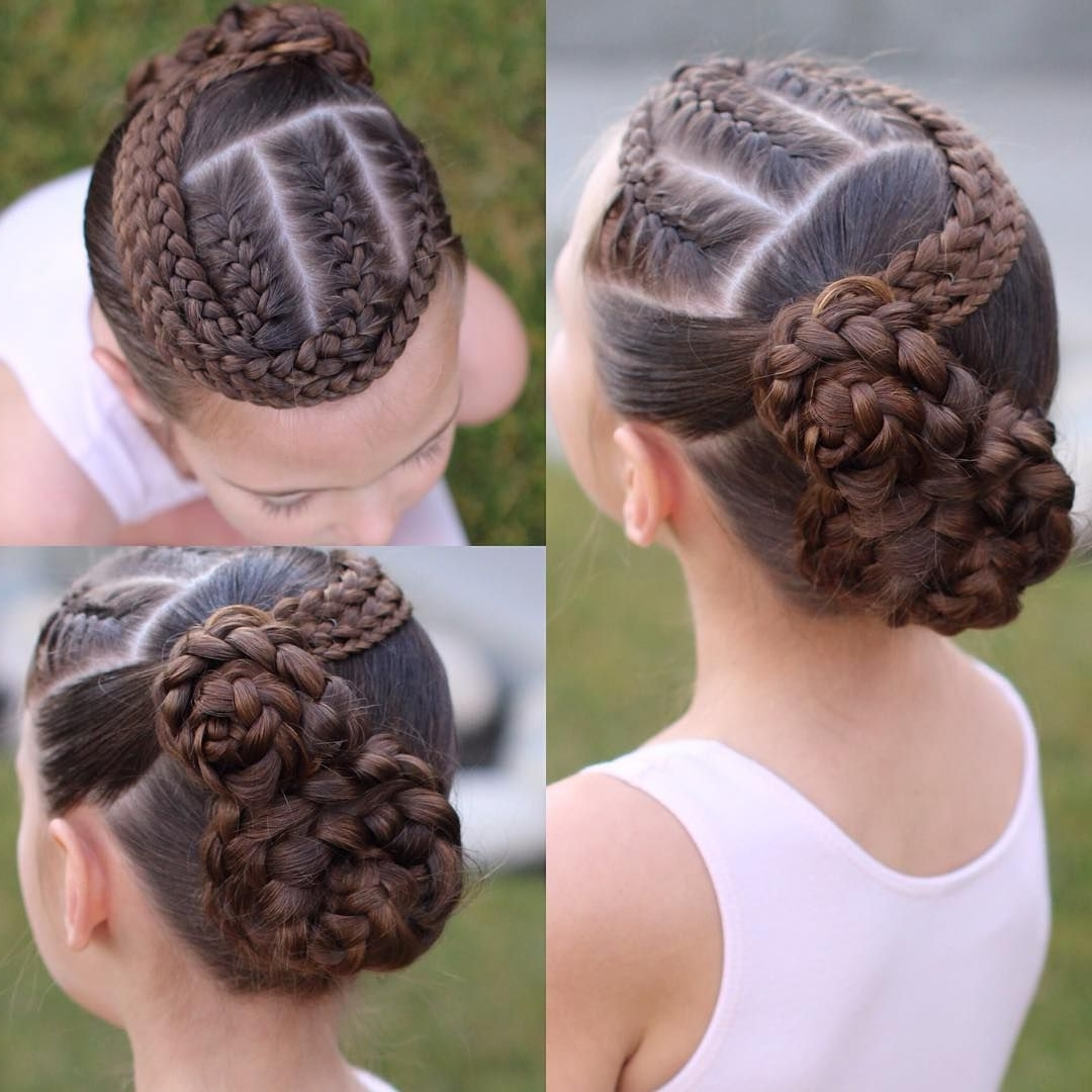Well Liked French Braids In Flower Buns Within C's Dance Hair. 3 French Braids To Two Flower Buns (View 4 of 15)
