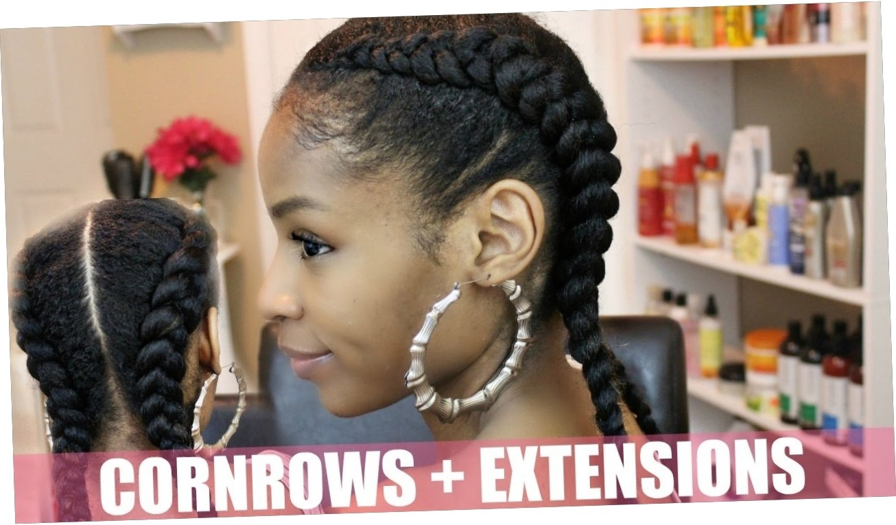 Well Liked Two Cornrows Hairstyles Inside Two Cornrows Braids With Weave  Natural Hairstyles (View 15 of 15)