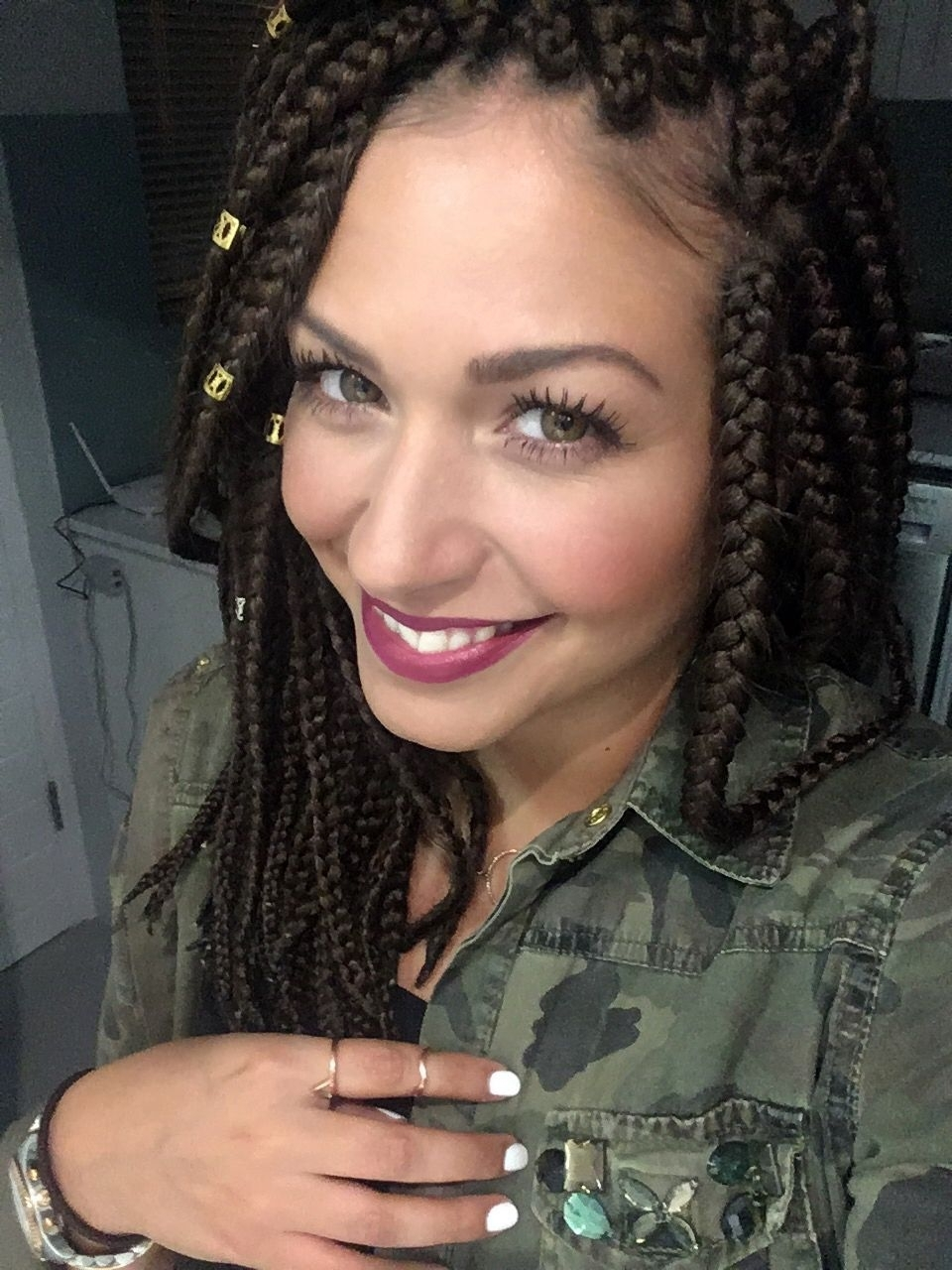 White Girl With Box Braids #boxbraids #longbob #whitegirl #latina Pertaining To Most Popular Cornrows Hairstyles With White Color (View 14 of 15)