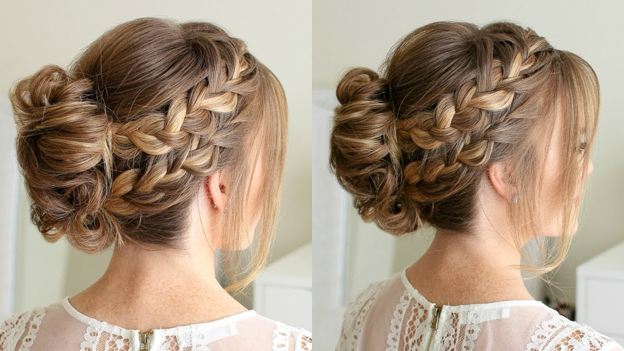 Widely Used Braided Bun With Two French Braids In Double French Braid Mohawk Bun (View 9 of 15)