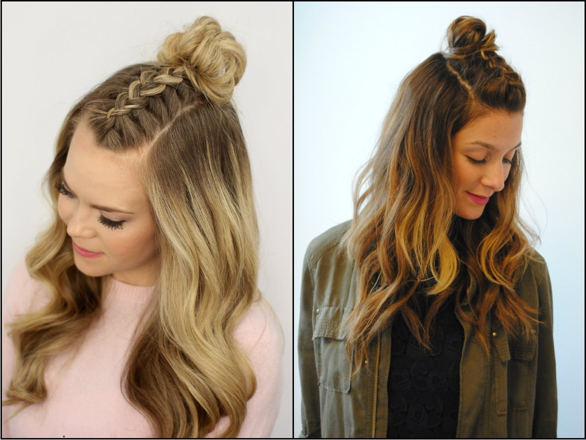 Widely Used Braided Hairstyles With Hair Down Pertaining To Half Up Top Knot Tutorial Cute Spring Outfit Idea Hairstyles Ideas (View 7 of 15)