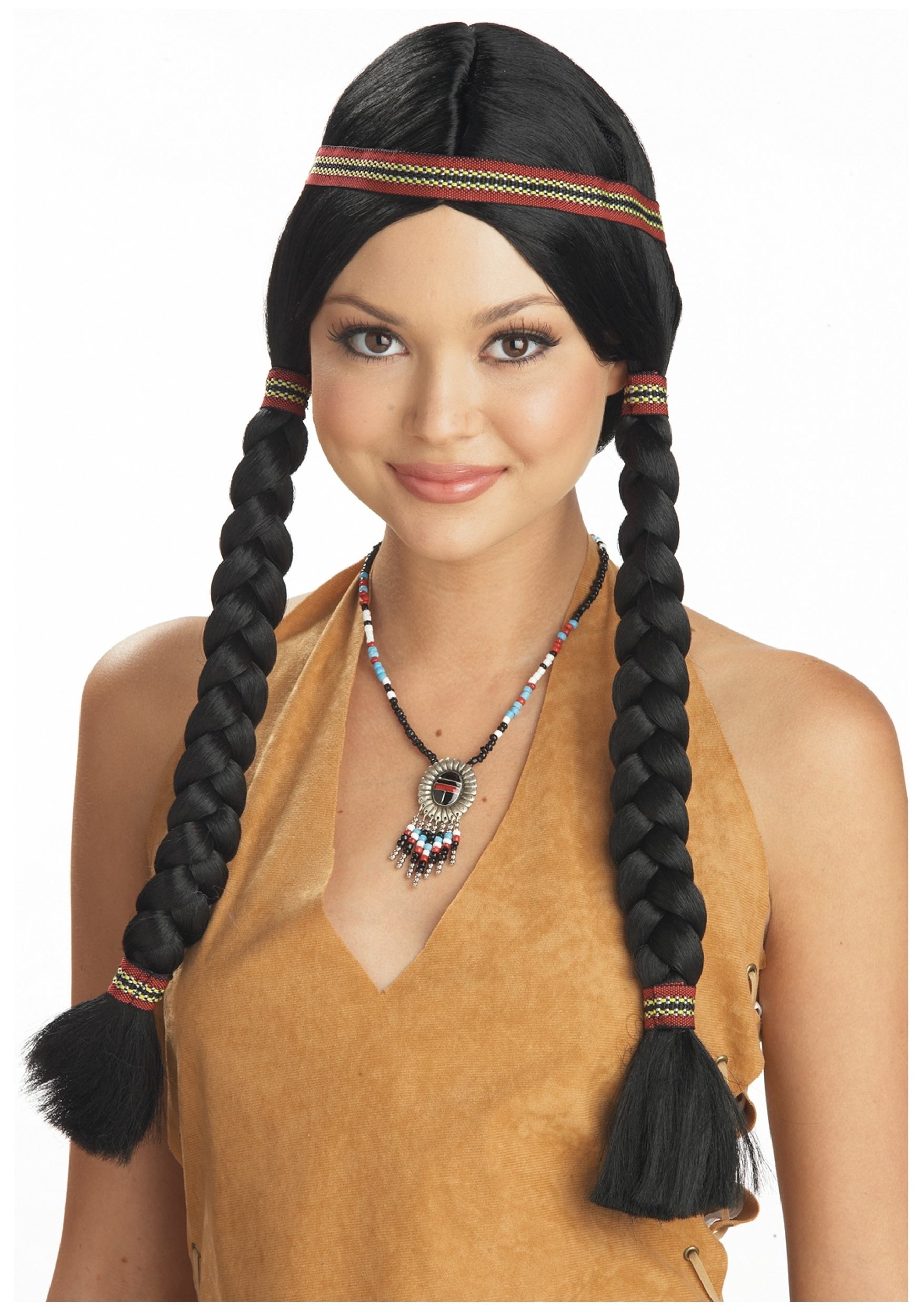 Widely Used Pocahontas Braids Hairstyles Throughout Womens Native American Maiden Wig (View 14 of 15)