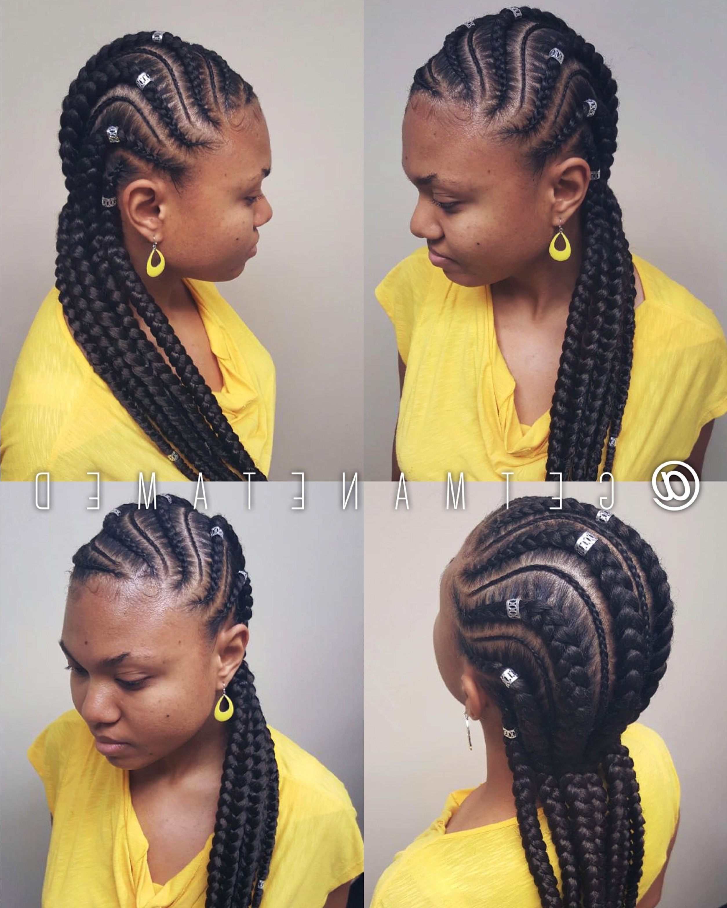 Widely Used Thick And Thin Asymmetrical Feed In Braids Inside Feed In Braids. Feed In Cornrows. Ghana Cornrows (View 15 of 15)