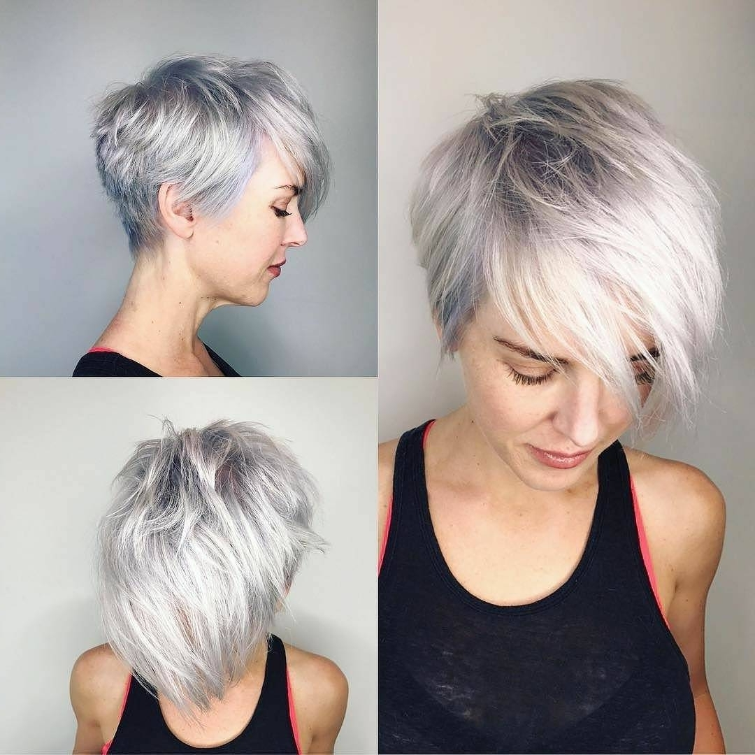 10 Latest Short Haircut For Fine Hair 2018 & Stylish Short Hair Intended For Latest Gray Blonde Pixie Hairstyles (View 1 of 20)