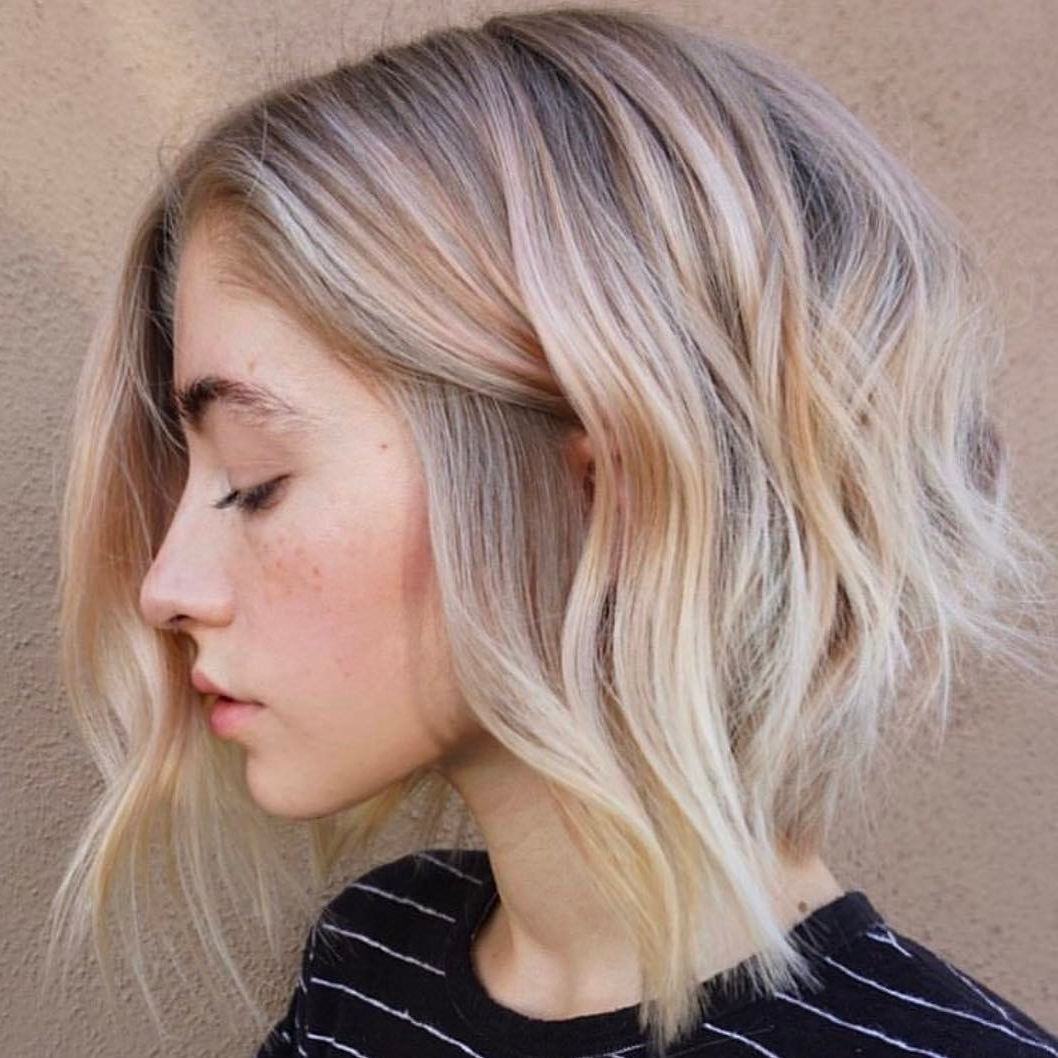 10 Wavy Lob Hair Styles – Color & Styling Trends Right Now! Within Widely Used Caramel Blonde Lob With Bangs (View 16 of 20)