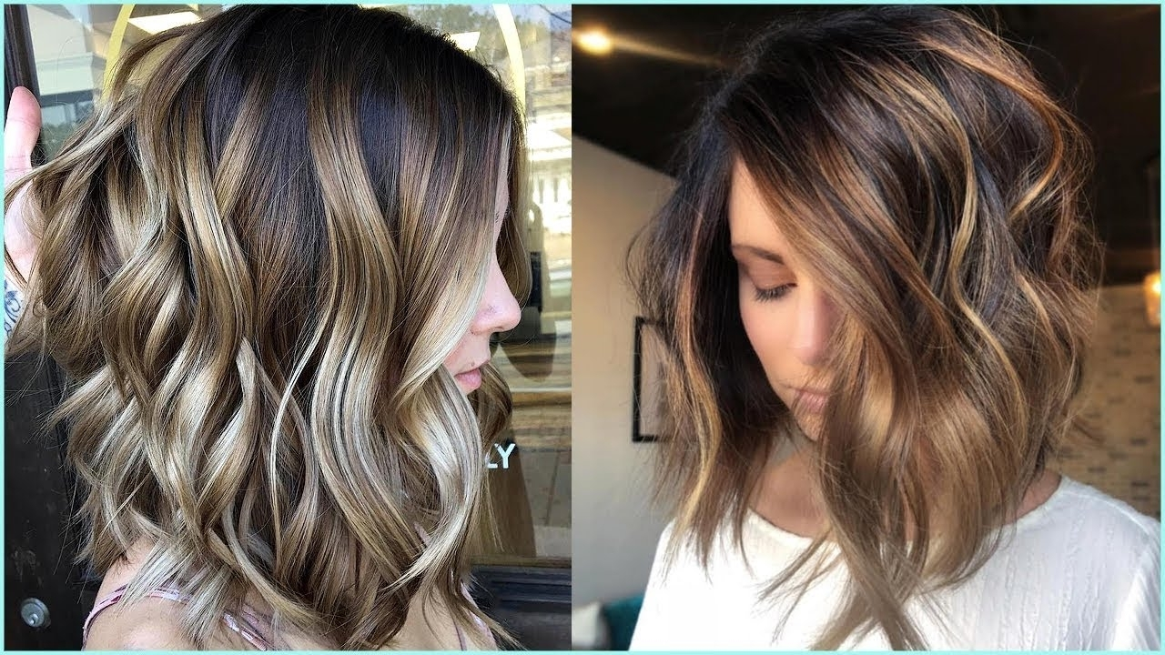 11 Stunning Lob And Bob Haircuts ? Blonde Highlights And Brown Intended For Favorite Feathered Pixie With Balayage Highlights (View 2 of 20)