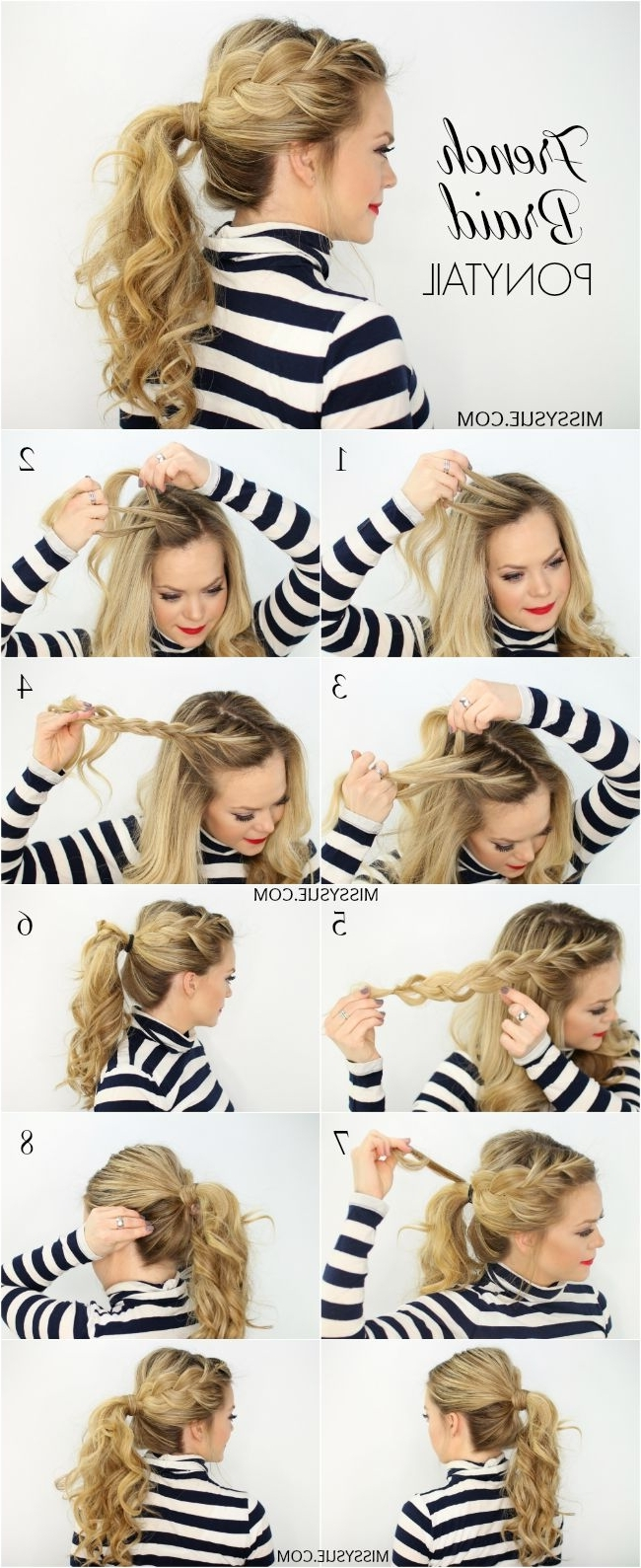 15 Adorable French Braid Ponytails For Long Hair – Popular Haircuts Inside Most Recent Side Pony Hairstyles With Fishbraids And Long Bangs (View 2 of 20)