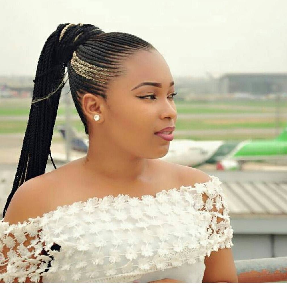 15 Lovely Ghana Braids Styles – Updos, Cornrows, Jumbo, Ponytail Intended For 2017 High Ponytail Hairstyles With Jumbo Cornrows (View 2 of 20)