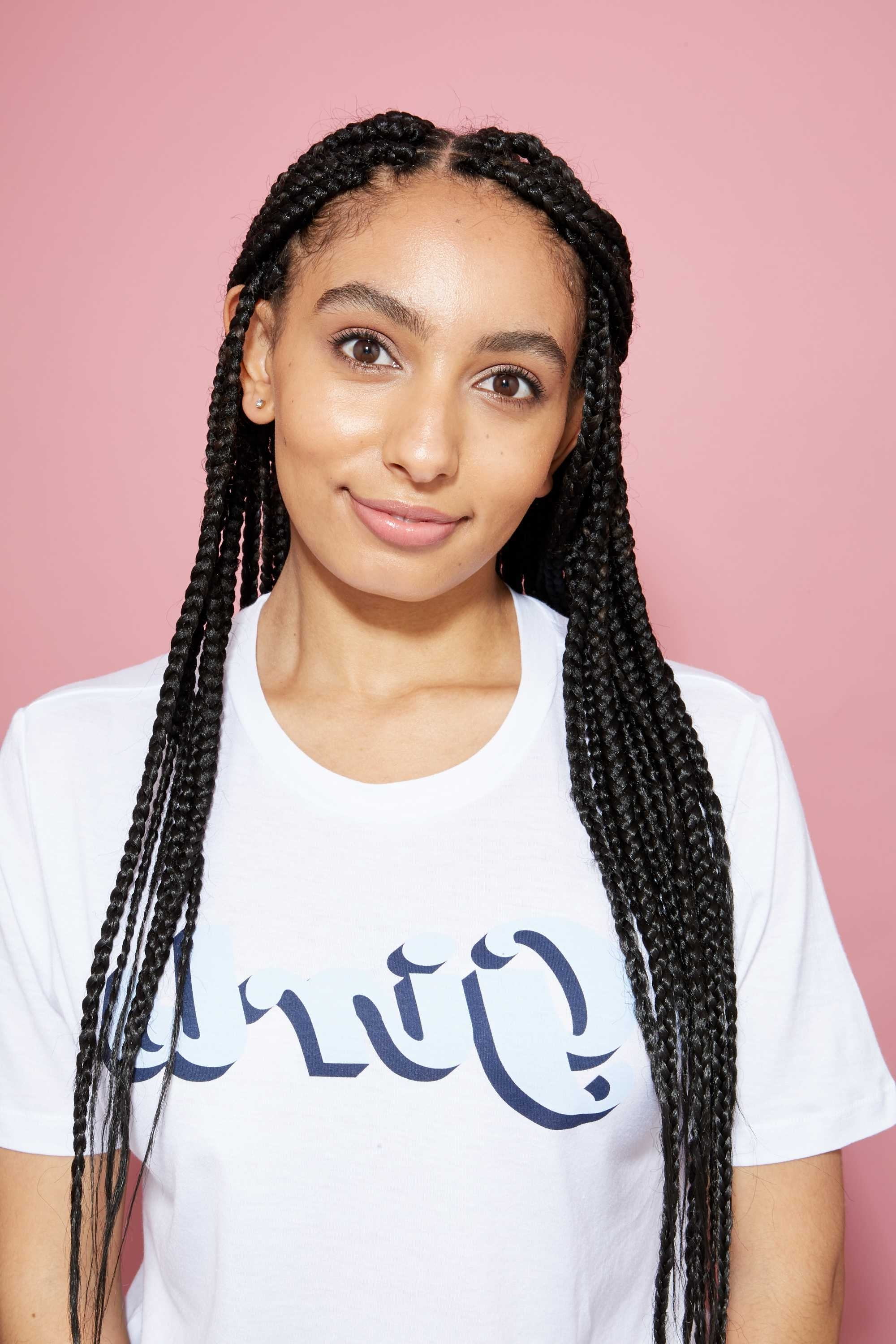 17 Flawless & Fashionable Ways To Style Long Box Braids Throughout Favorite Sky High Pompadour Braid Pony Hairstyles (View 12 of 20)