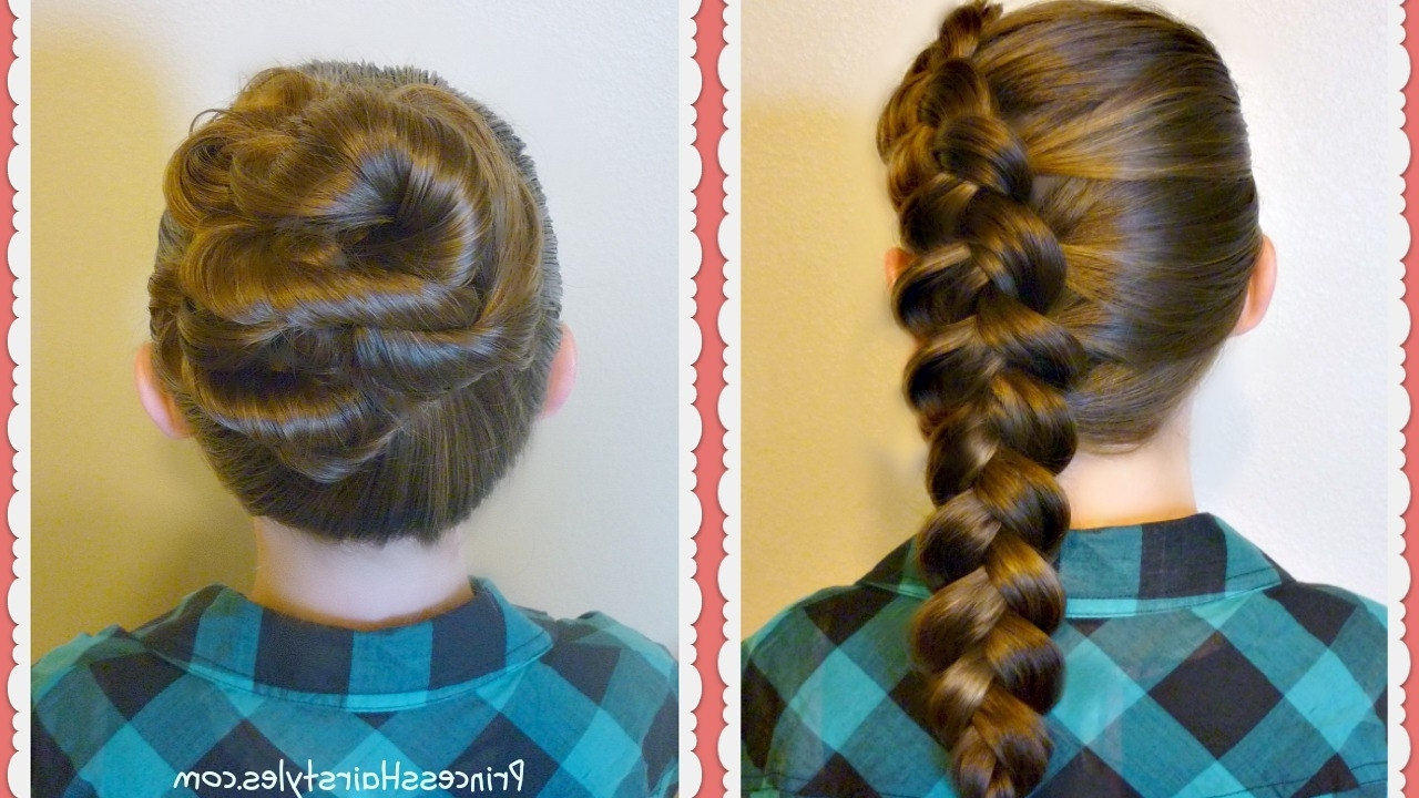 2 Easy Hairstyles For School – Side Dutch Braid And Messy Bun Twist Regarding Widely Used Messy Ponytail Hairstyles With A Dutch Braid (View 1 of 20)