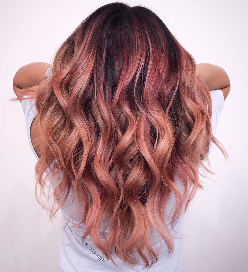 20 Gorgeous Examples Of Rose Gold Balayage Throughout Fashionable Golden Blonde Balayage Hairstyles (View 2 of 20)