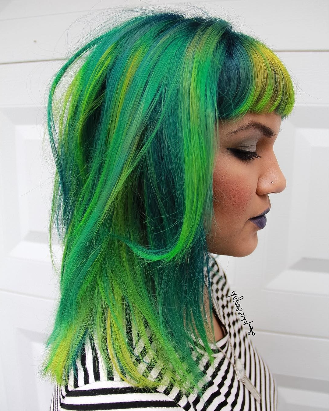 20 Ways To Rock Green Hair Pertaining To Fashionable Blonde Hairstyles With Green Highlights (View 2 of 20)