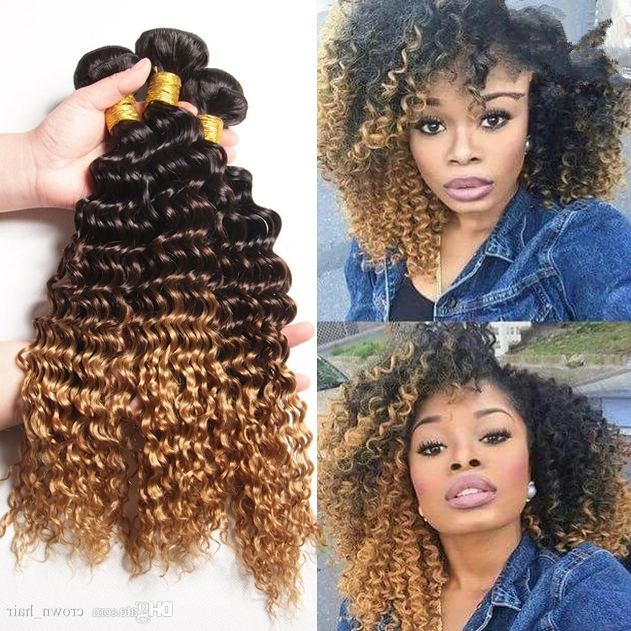 2017 Brown To Blonde Ombre Curls Hairstyles Within Honey Blonde #1B/4/ded Hair Extensions 3 Tone Hair Weaves Kinky (View 3 of 20)