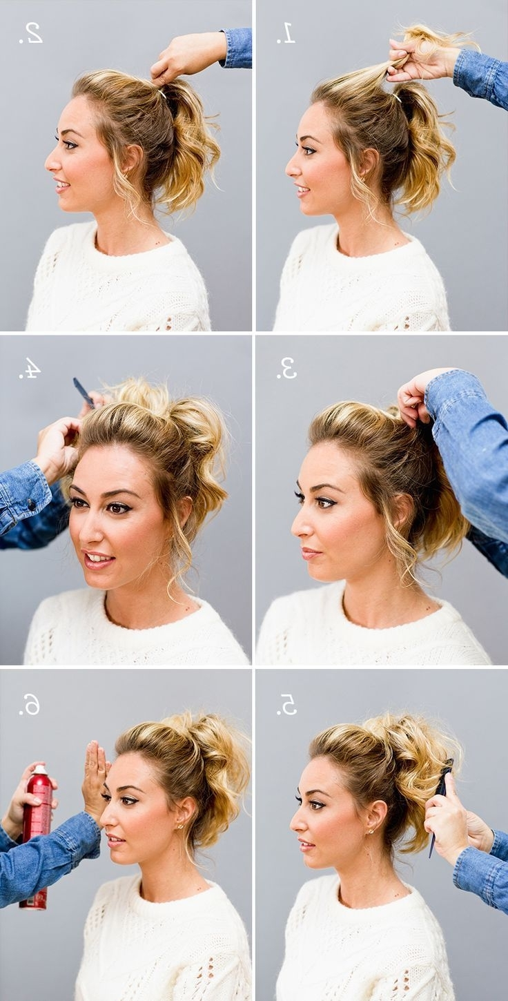 2017 Curled Up Messy Ponytail Hairstyles Within Messy Top Volume Curly Ponytail … (View 2 of 20)