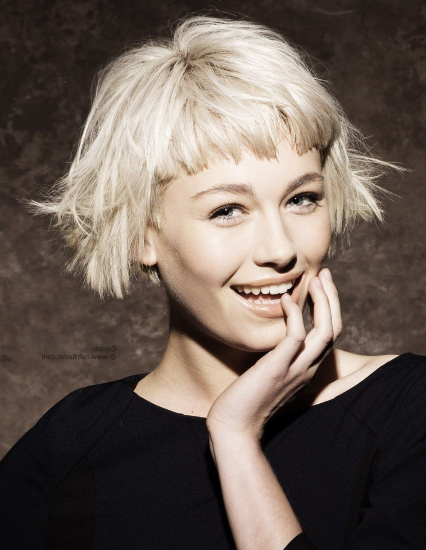 2017 Cute Blonde Bob With Short Bangs Regarding Bangs Hairstyles For Short Hair (View 2 of 20)