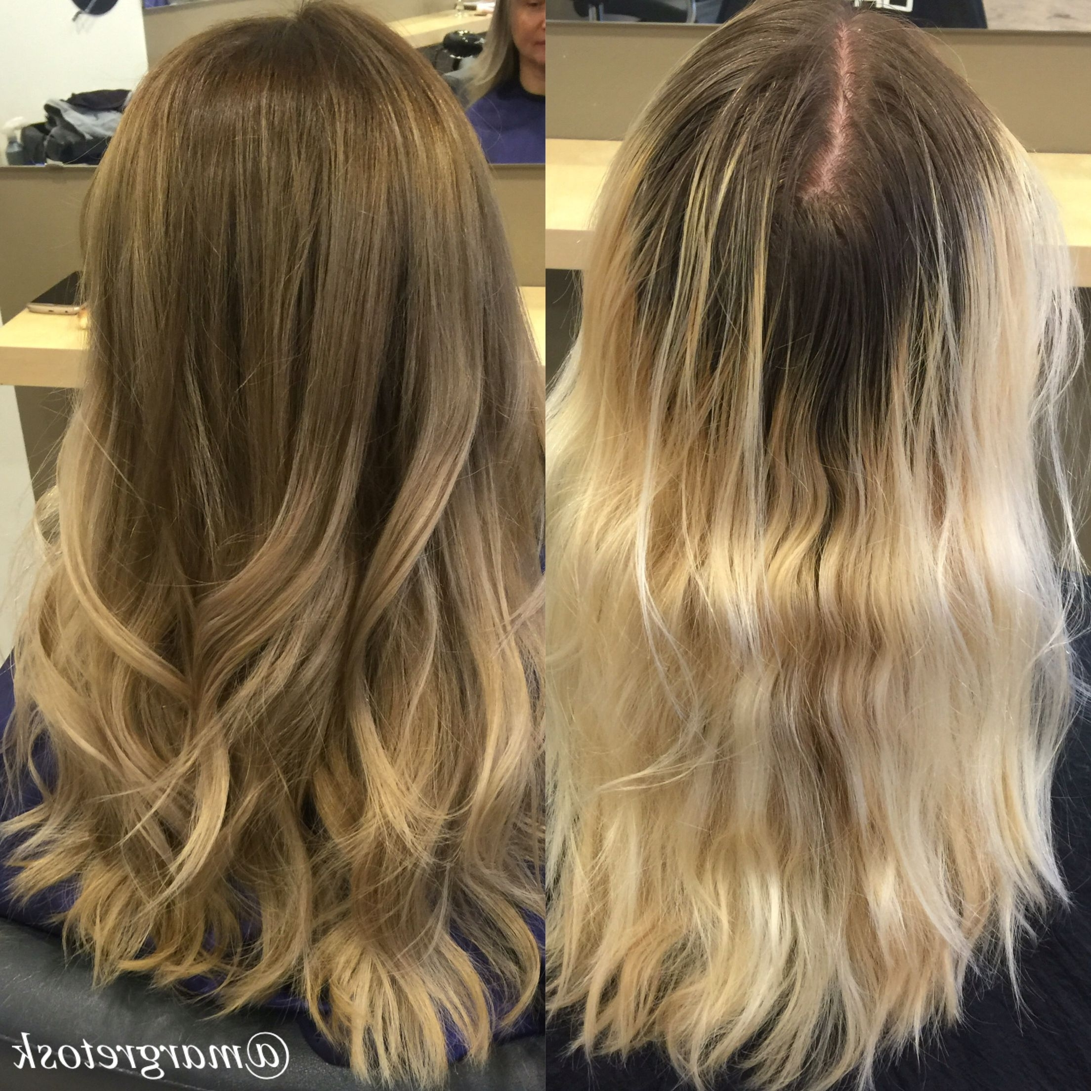 2017 Grown Out Balayage Blonde Hairstyles Throughout Before And After Coloring (View 2 of 20)