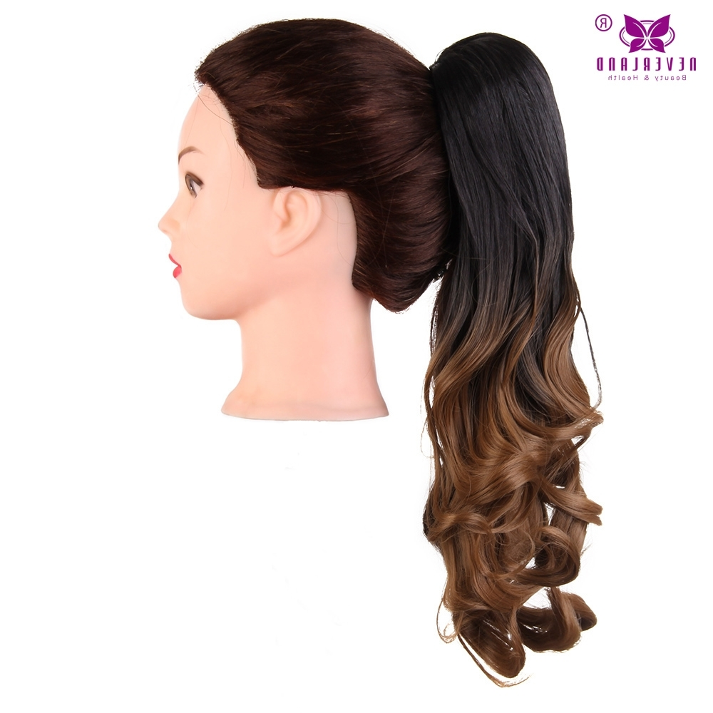 "2017 Ponytail Hairstyles With Wild Wavy Ombre Pertaining To Online Shop Aimei 20"" Claw Clip On Ponytail Synthetic Wavy Hair (View 9 of 20)"
