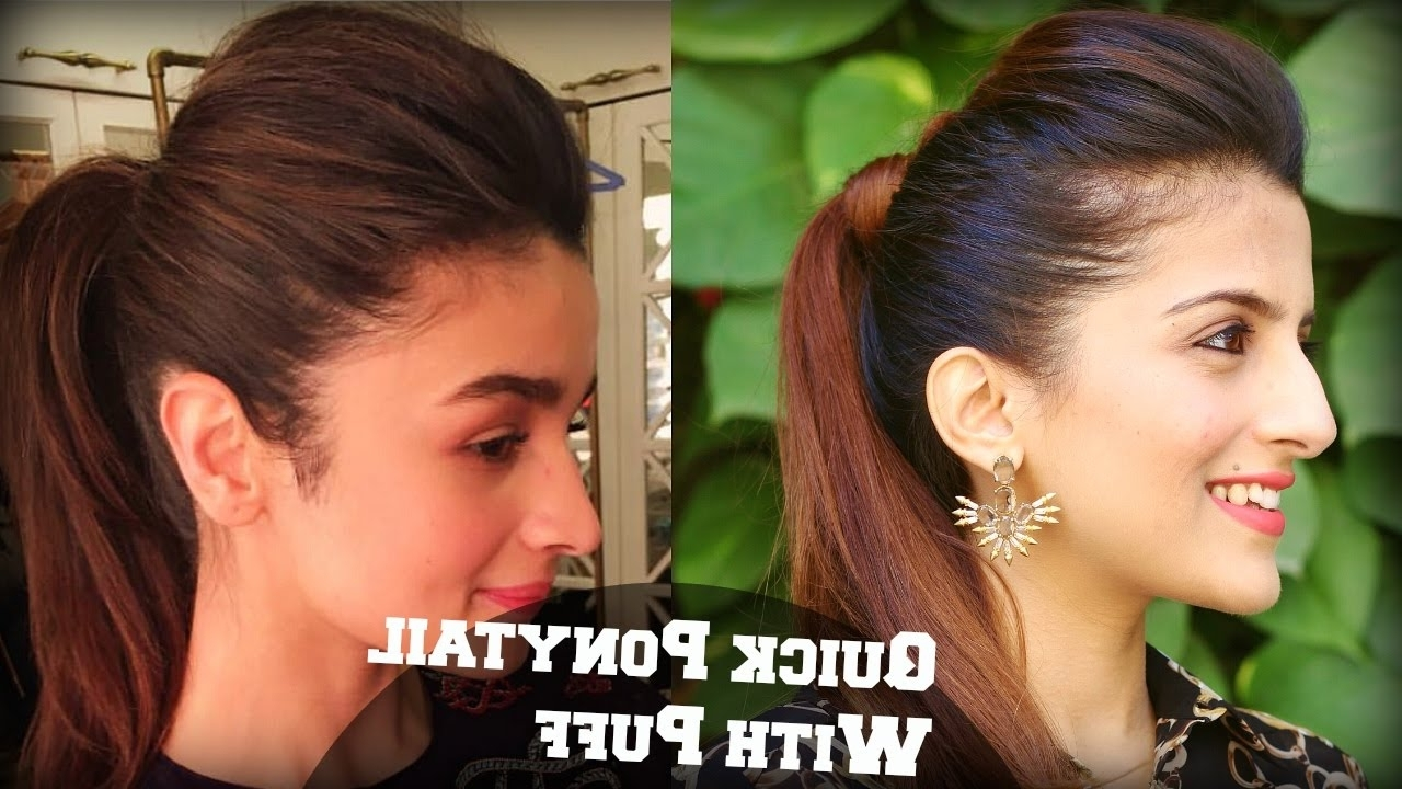2017 Straight High Ponytail Hairstyles With A Twist Regarding 1 Min Perfect Puff With A Quick High Ponytail Hairstyle For College (View 1 of 20)