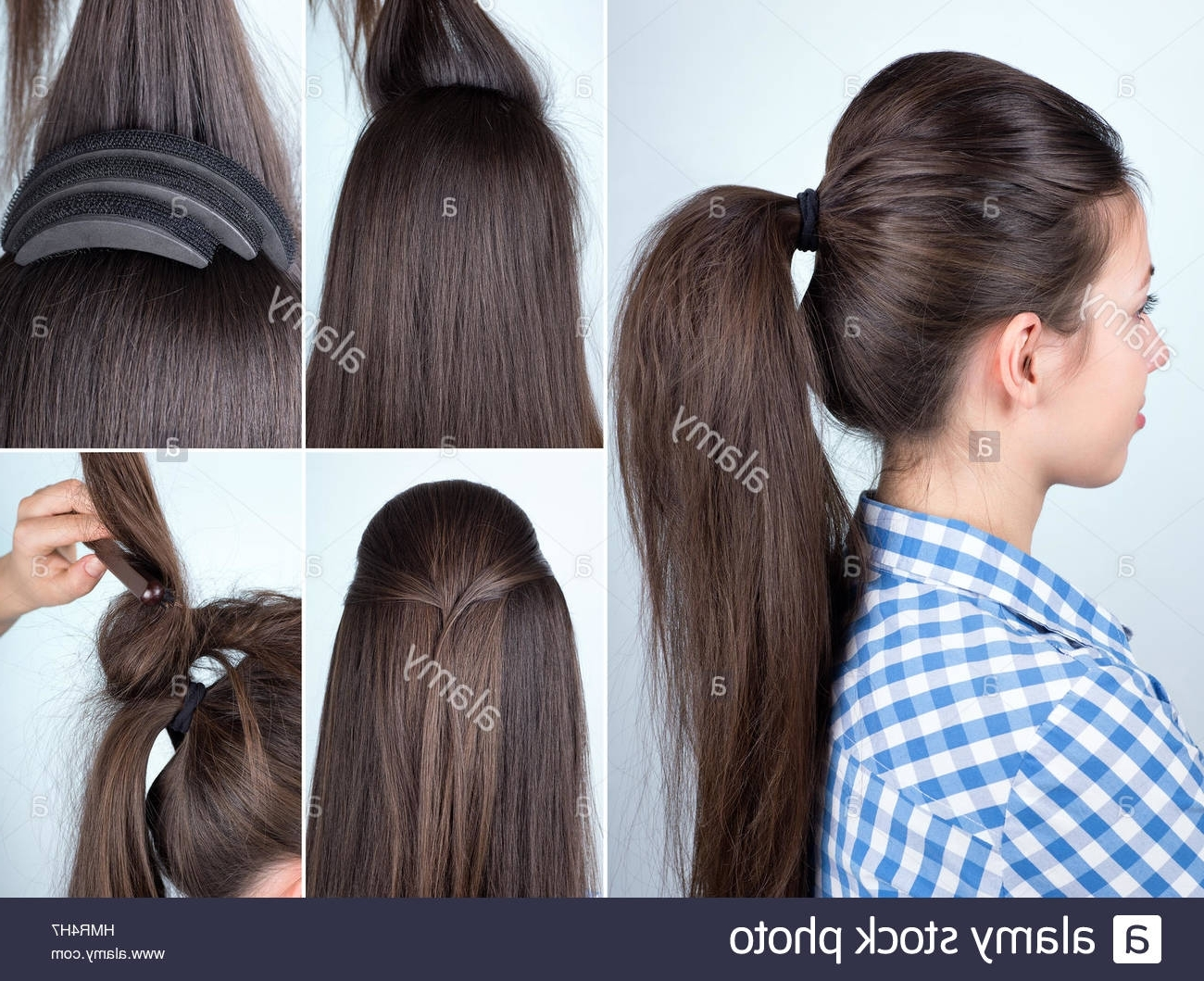 2018 Bouffant Ponytail Hairstyles For Long Hair Pertaining To Hairstyle Volume Ponytail Tutorial Stock Photo: 133274211 – Alamy (View 3 of 20)