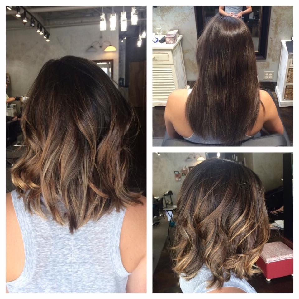 2018 Bronde Bob With Highlighted Bangs Within Long Textured Bob And Balayage Ombre Highlights #hairbylindsaybanks (View 15 of 20)