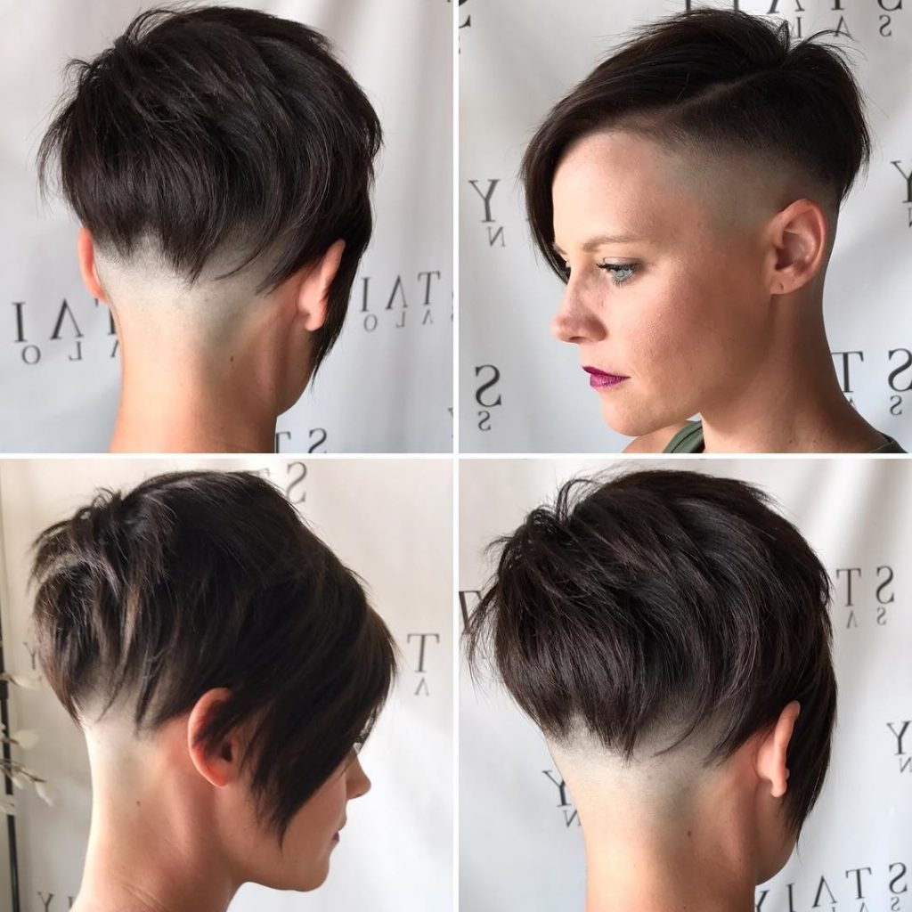 2018 Choppy Asymmetrical Black Pixie Hairstyles Pertaining To Women's Brunette Choppy Asymmetrical Undercut Pixie Short Hairstyle (View 2 of 20)