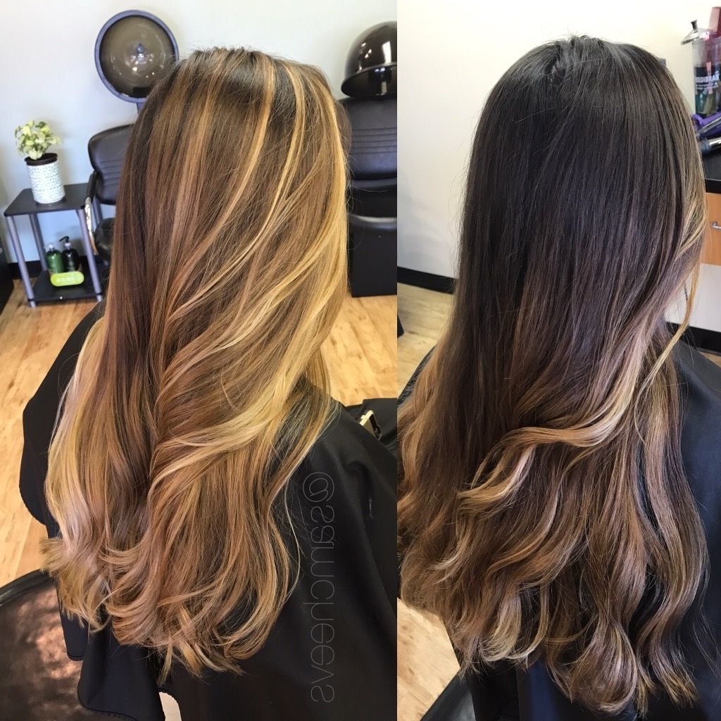 2018 Dark Roots Blonde Hairstyles With Honey Highlights Throughout Before And After Transformation / Dark Black Brown Roots To Light (View 11 of 20)